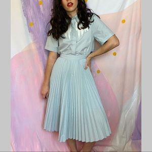 VINTAGE Pastel Blue Embroidered Cowgirl Dress